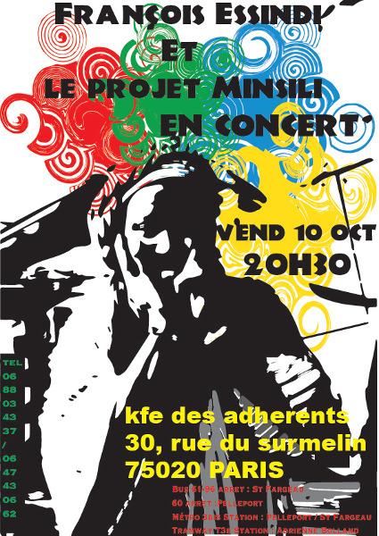 François Essindi et le projet Minsili en concert au Kfe des adhérents. le 10 octobre 2014 - 20h30